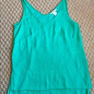 H&M V- neck Satin Green Top XS/ 2 euc